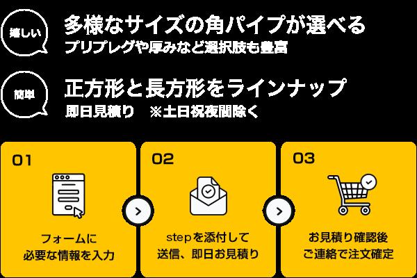 角パイプ –(寸法値指定・図面データ入稿)